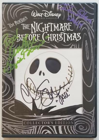 PAGE, SARANDON, O'HARA Signed NIGHTMARE BEFORE CHRISTMAS DVD COVER BAS COA AUTO