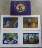 Paige O' Hara Belle Signed X4 Beauty & The Beast Disney Lithograph Set All Psa