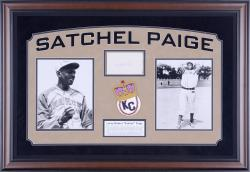 PAIGE, SATCHEL FRAMED AUTO (KC MONARCHS) HORZ PSA 3X5 SLAB - Mounted Memories