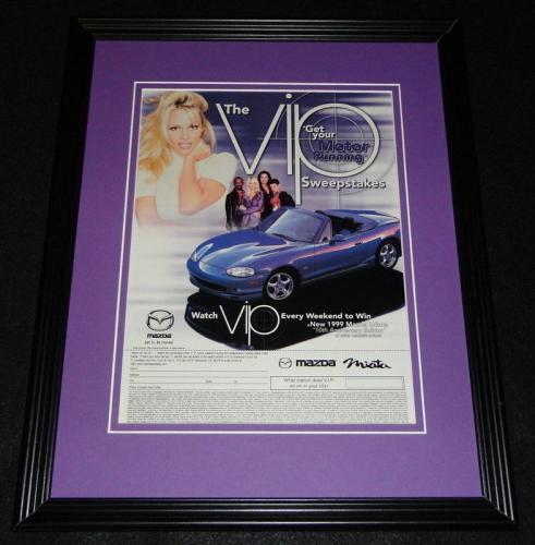 Pamela Anderson 1999 Mazda Miata Framed 11x14 ORIGINAL Vintage Advertisement