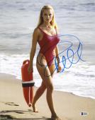 "Pamela Anderson Autographed 11"" x 14"" Baywatch Red Bathing Suit Photograph - BAS COA"