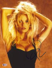 """Pamela Anderson Autographed 11"""" x 14"""" Black Dress Photograph - BAS COA"""