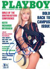 Pamela Anderson Autographed October 1989 Playboy Magazine - BAS COA
