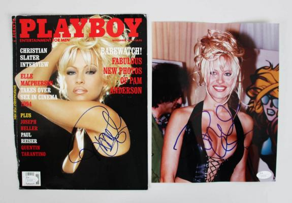 Pamela Anderson Playboy Playmate Baywatch Sexy Signed (2) Photos – COA JSA