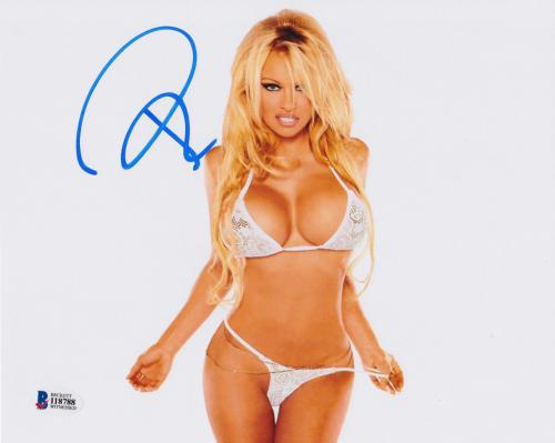 Pamela Anderson Signed 8x10 Photo - Pam Sexy White Lingerie Beckett BAS