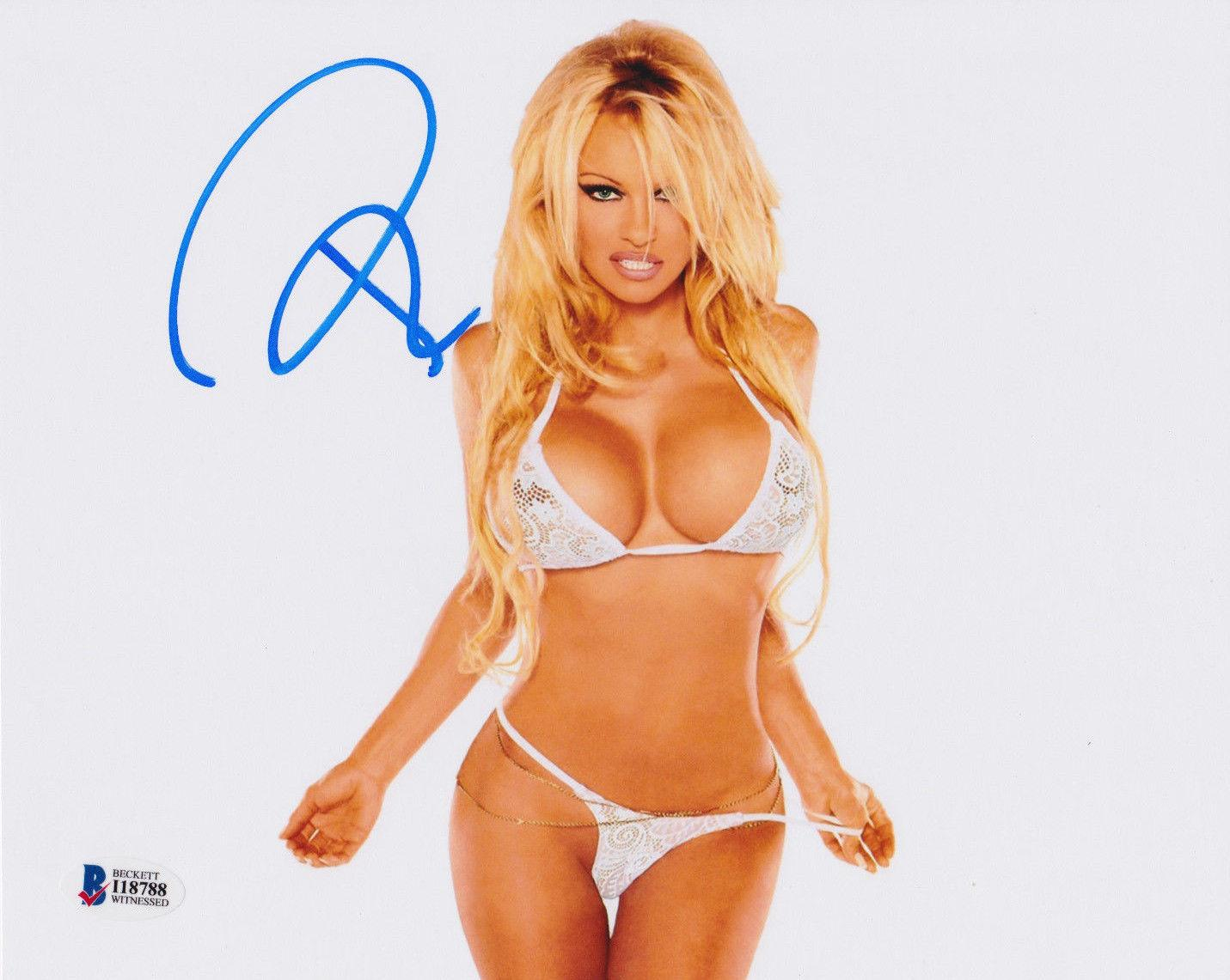 pamela anderson signed 8x10 photo pam sexy white lingerie beckett bas. Black Bedroom Furniture Sets. Home Design Ideas