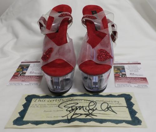 Pamela Anderson Signed/Screen Worn VIP Auto Red Heart Heels PSA/DNA #D22086/87