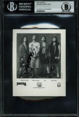 Pantera Dimebag Darrell & Rex Signed 4x5 Black & White Promo Photo BAS Slabbed