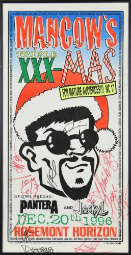 Pantera & Jackyl (9) Signed & Framed 11.5x22.5 1996 Mancow's Concert Poster BAS