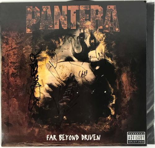 Pantera Signed Far Beyond Driven Album Cover Dimebag Vinnie Paul Beckett Bas Coa