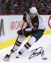 "Zach Parise Minnesota Wild Autographed 8"" x 10"" White with Puck Photograph"