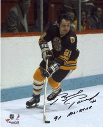 "Brad Park Boston Bruins Autographed 8"" x 10"" Black Skating Photograph with 9X All Star Inscription"