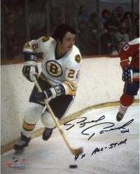 "Brad Park Boston Bruins Autographed 8"" x 10"" White Skating Photograph with 9X All Star Inscription"
