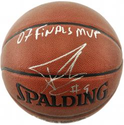 Tony Parker San Antonio Spurs Autographed Spalding Indoor Outdoor Basketball with 07 Finals MVP Inscription - Mounted Memories