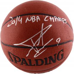 Tony Parker San Antonio Spurs 2014 NBA Finals Autographed Spalding Indoor Outdoor Basketball with 2014 NBA Champs Inscription
