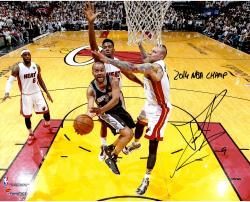 Tony Parker San Antonio Spurs 2014 NBA Finals Autographed 16'' x 20'' Horizontal Lay-Up Photograph with 2014 NBA Champs Inscription - Mounted Memories