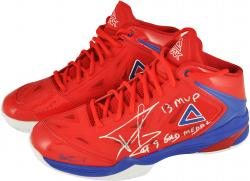 Tony Parker San Antonio Spurs Autographed Red Peak Sneakers with 13 MVP and Gold Medal Inscription-Limited Edition of 3