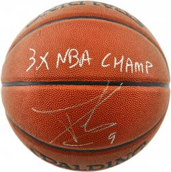 Tony Parker San Antonio Spurs Autographed Spalding Indoor Outdoor Basketball with 3X NBA Champion Inscription - Mounted Memories