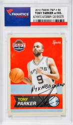 "PARKER, TONY AUTO ""4 X NBA CHAMP"" (2012 PANINI P&P # 58)CARD - Mounted Memories"