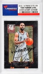 Tony Parker San Antonio Spurs Autographed 2013-14Panini Elite #56 Card with 4 X NBA Champ Inscription