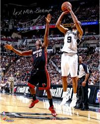 Tony Parker San Antonio Spurs 2014 NBA Finals Autographed 16'' x 20'' Jumper Photograph with 4X NBA Champ Inscription - Mounted Memories
