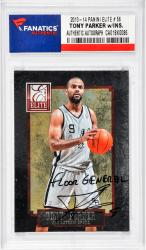 Tony Parker San Antonio Spurs Autographed 2013-14Panini Elite #56 Card with Floor General Inscription