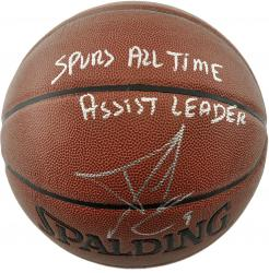 Tony Parker San Antonio Spurs Autographed Spalding Indoor Outdoor Basketball with Spurs All Time Assist Leader Inscription