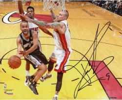 Tony Parker San Antonio Spurs 2014 NBA Finals Autographed 8'' x 10'' Horizontal Lay-Up Photograph - Mounted Memories