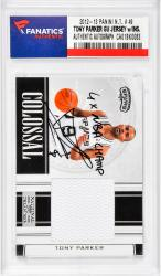 Tony Parker San Antonio Spurs Autographed 12-13 Panini #49 Card with a Piece of Game-Used Jersey and Multiple Inscriptions Inscription