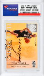 Tony Parker San Antonio Spurs Autographed 2012-13 Panini Elite #21 Card with 4 X NBA Champ Inscription