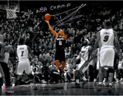 Tony Parker San Antonio Spurs 2014 NBA Finals Autographed 11'' x 14'' Spotlight Photograph with 2014 NBA Champs Inscription-#2-8, 10-23 of a Limited Edition of 24 - Mounted Memories