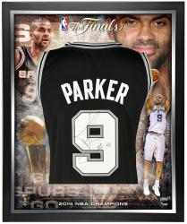 Tony Parker San Antonio Spurs 2014 NBA Finals Framed Autographed Swingman Black Jersey