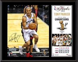 """Tony Parker San Antonio Spurs 2014 NBA Finals Champions Sublimated 12"""" x 15"""" Plaque"""