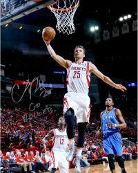 "Chandler Parsons Houston Rockets Autographed 16"" x 20"" Dunk Photograph with Go Rockets Inscription"