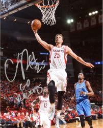 "Chandler Parsons Houston Rockets Autographed 8"" x 10"" Dunk Photograph with Go Rockets Inscription"