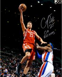 "Chandler Parsons Houston Rockets Autographed 16"" x 20"" Red Uniform Layup Photograph with Go Rockets Inscription"