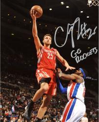 "Chandler Parsons Houston Rockets Autographed 8"" x 10"" Red Uniform Layup Photograph with Go Rockets Inscription"