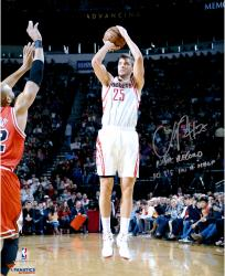 """Chandler Parsons Houston Rockets Autographed 16"""" x 20"""" Jumper Photograph with NBA Record Most 3s In A Half Inscription"""