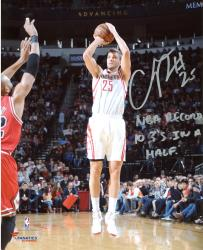 """Chandler Parsons Houston Rockets Autographed 8"""" x 10"""" Jumper Photograph with NBA Record Most 3s In A Half Inscription"""