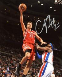 "Chandler Parsons Houston Rockets Autographed 8"" x 10"" Red Uniform Layup Photograph"