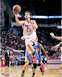 "Chandler Parsons Houston Rockets Autographed 16"" x 20"" White Uniform Layup Photograph"