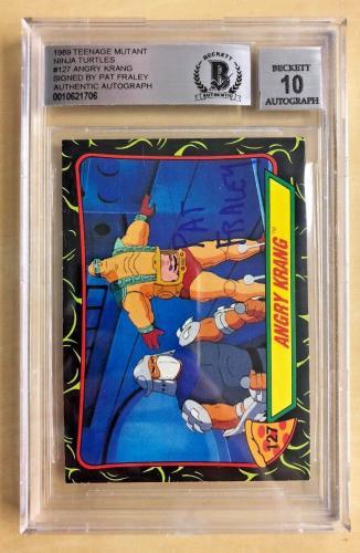Pat Fraley Signed #127 Angry Krang Tmnt Ninja Turtles Series 1989 Bgs 10 Auto