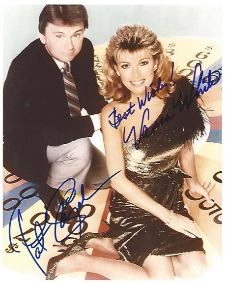 "PAT SAJAK and VANNA WHITE (HOST and HOSTESS) of ""WHEEL OF FORTUNE"" Signed 8x10 Color Photo"