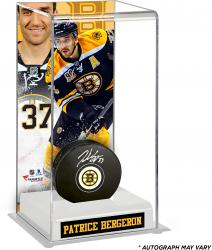 Patrice Bergeron Boston Bruins Autographed Puck with Deluxe Tall Hockey Puck Case