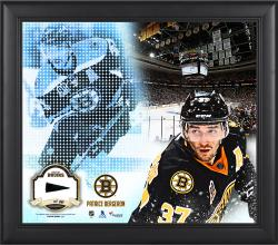 Patrice Bergeron Boston Bruins Framed 15'' x 17'' Mosaic Collage with Piece Of Game-Used Puck-Limited Edition of 99