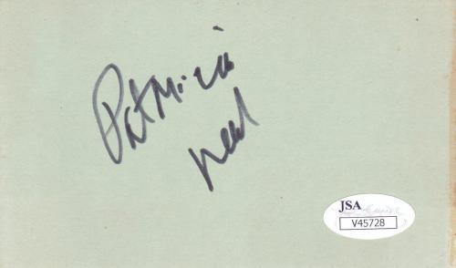 PATRICIA NEAL d. 2010 Signed 3X5 Index Card, Breakfast At Tiffany's JSA V45728