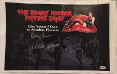Patricia Quinn TIM CURRY Nell Campbell ROCKY HORROR Cast Signed 11x14 Canvas PSA