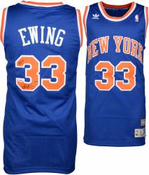 "Patrick Ewing New York Knicks Autographed Blue Addidas Jersey with ""HOF 08"" Inscription Limited Edition of 33"