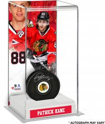 Patrick Kane Chicago Blackhawks Autographed Puck with Deluxe Tall Hockey Puck Case