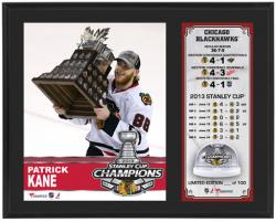 "Patrick Kane Chicago Blackhawks 2013 Stanley Cup Champions Sublimated 12"" x 15"" Plaque with Stanley-Cup Ice"